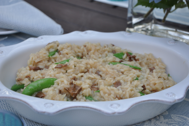 Porcini Mushroom Risotto with Sugar Snap Peas