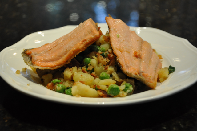 Trout with Smashed Fingerling Potatoes, Peas, Prosciutto & Pistachios