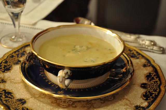 Creamy Potato Leek Soup with Stilton & Sautéed Pears