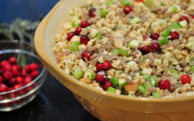 Sausage Stuffing with Celery, Cranberries and Apple