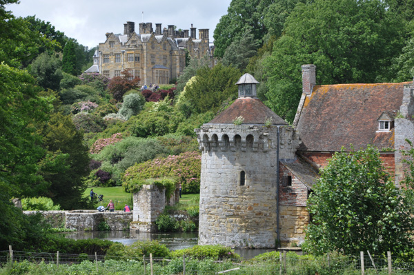 """The """"new"""" castle at the top and the original, """"old"""" moated castle below."""