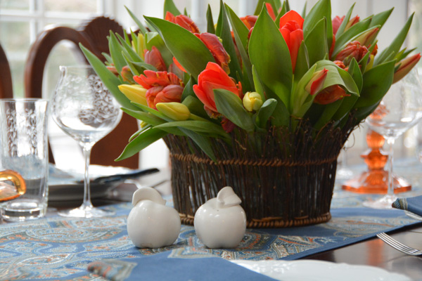 Tulips and French Blue Linens