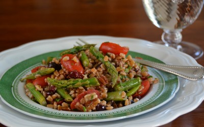 Farro Salad with Asparagus, Sugar Snap Peas and Tomatoes