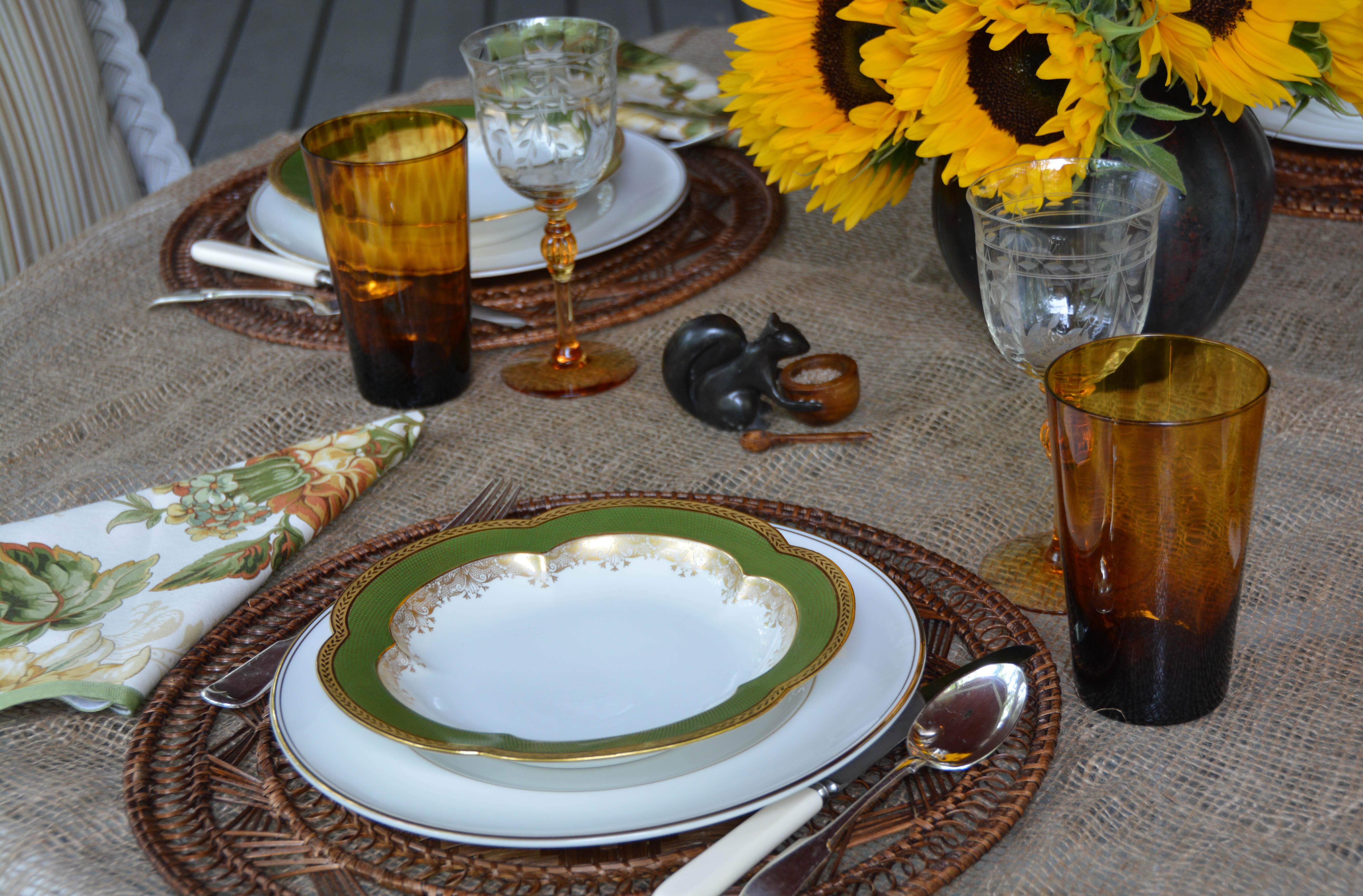 GreenScallopedBowlsTortoiseSunflowersPorch-8976