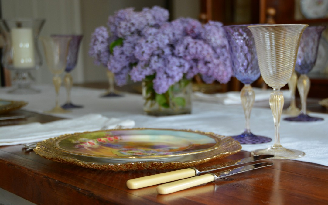 Hand Painted Garden Plates with Amethyst Venetian
