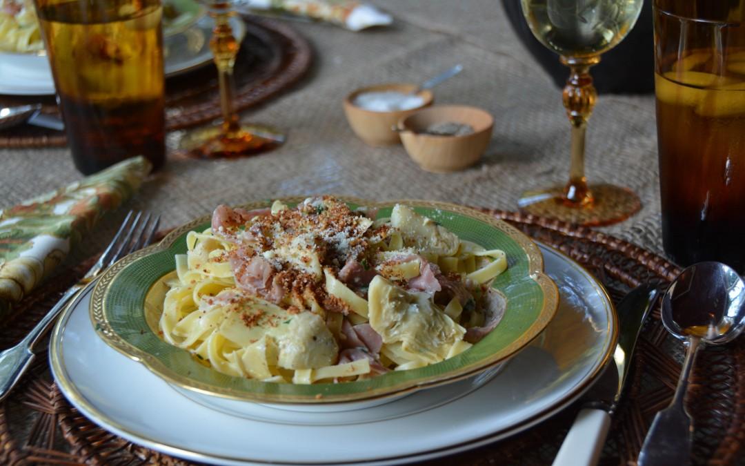 Tagliatelle with Artichokes and Prosciutto