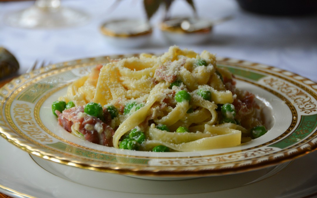 Tagliatelle with Prosciutto and Fresh Peas