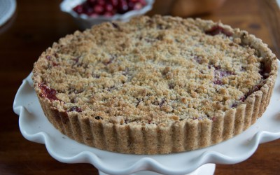 Pear and Cranberry Tart with Walnut Crust
