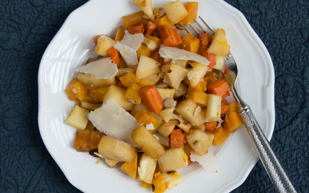 Roasted Root Vegetables with Almonds & Parmesan Cheese