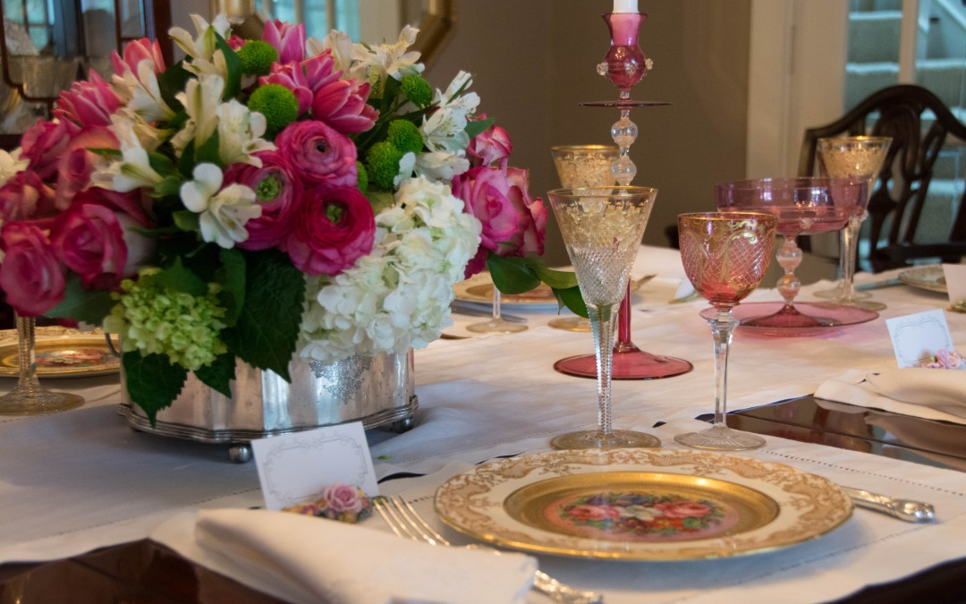 Hand Painted Cabinet Plates and Pink Moser Glass