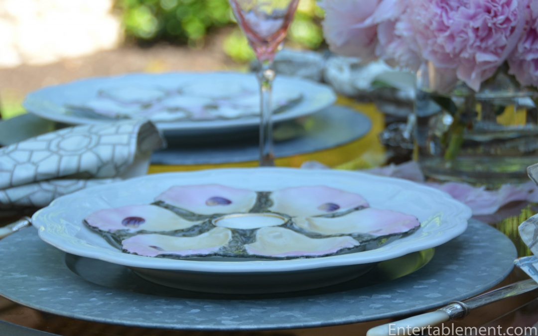 Majolica Oyster Plates & Peonies