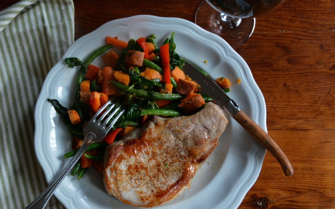Braised Vegetables with Pan Roasted Pork Chops