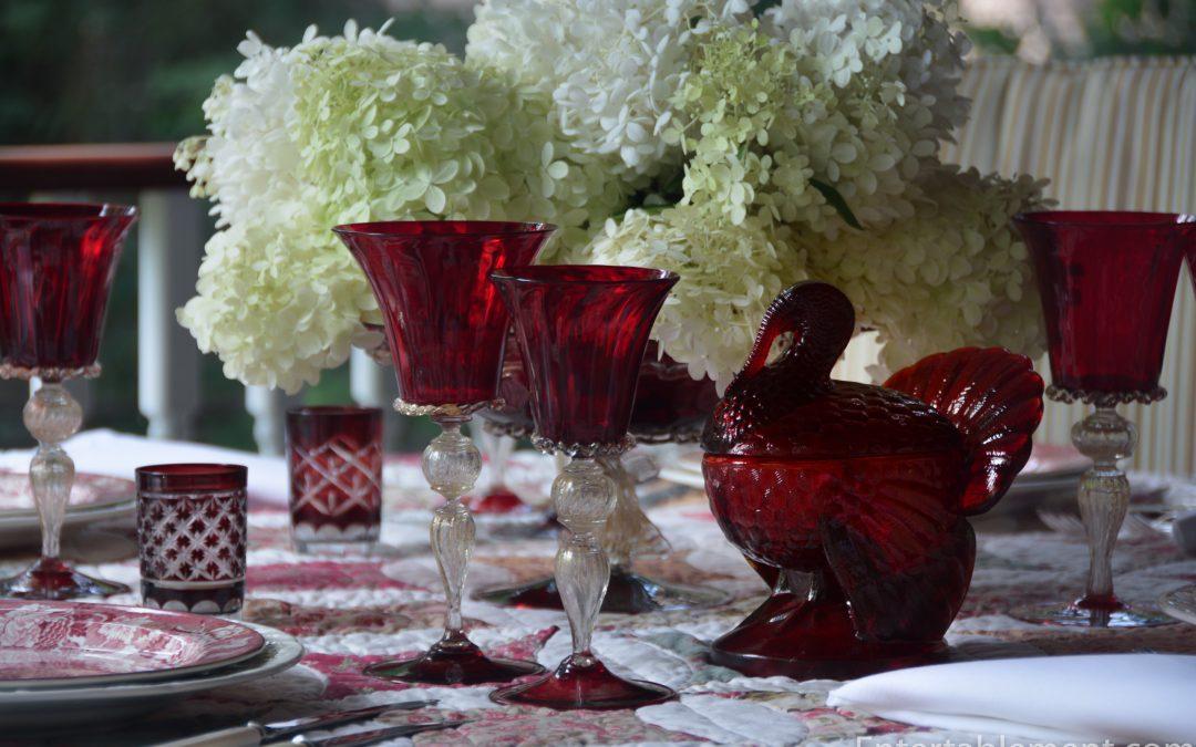 Burslem Red Turkey Plates by Enoch Woods