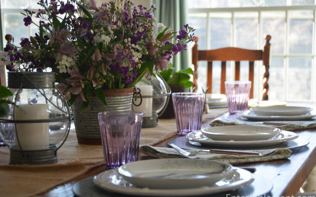 Grey Pier 1 Bunny Plates, Lavender Glasses