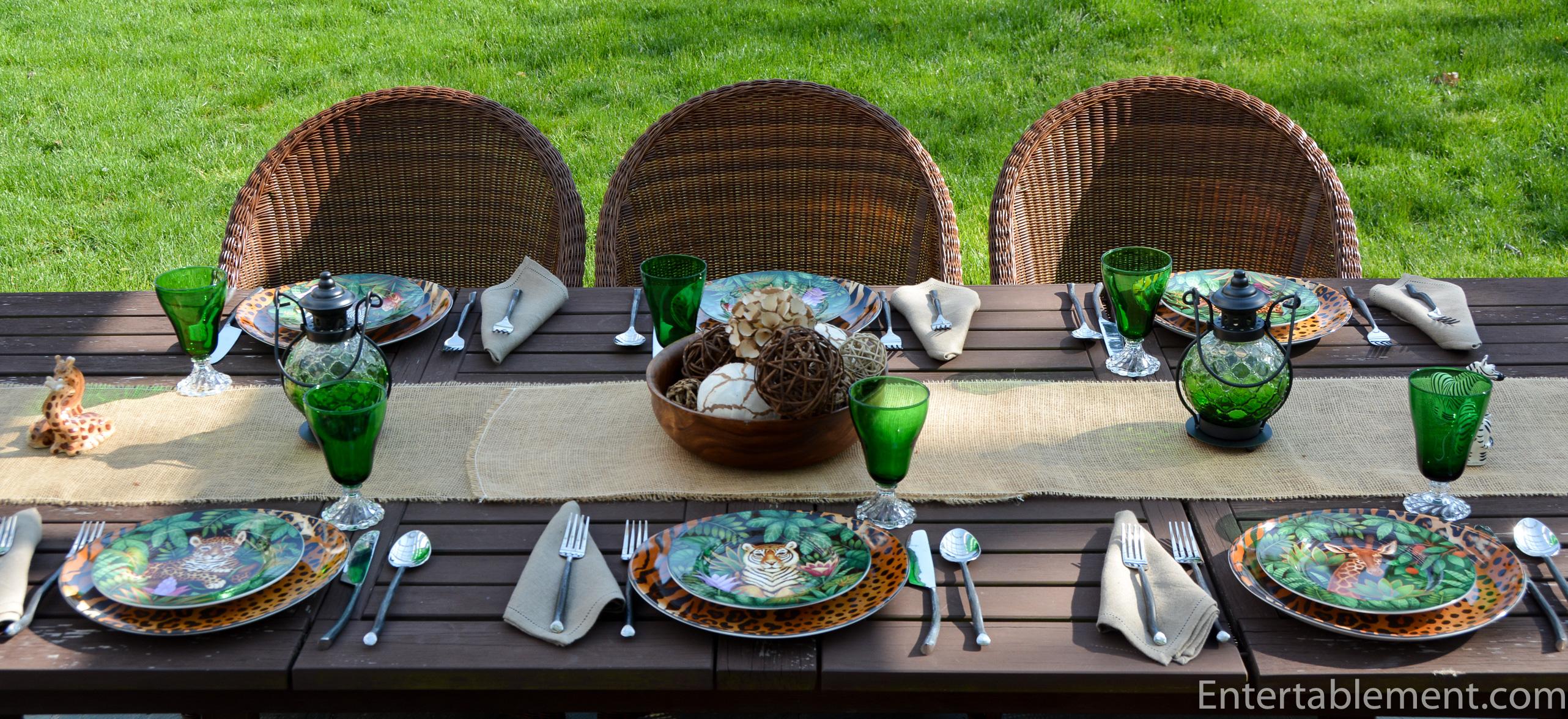 table set with jungle and safari theme