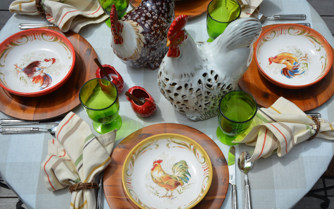 A Farmhouse Table with Sunset Rooster Dinner Bowls