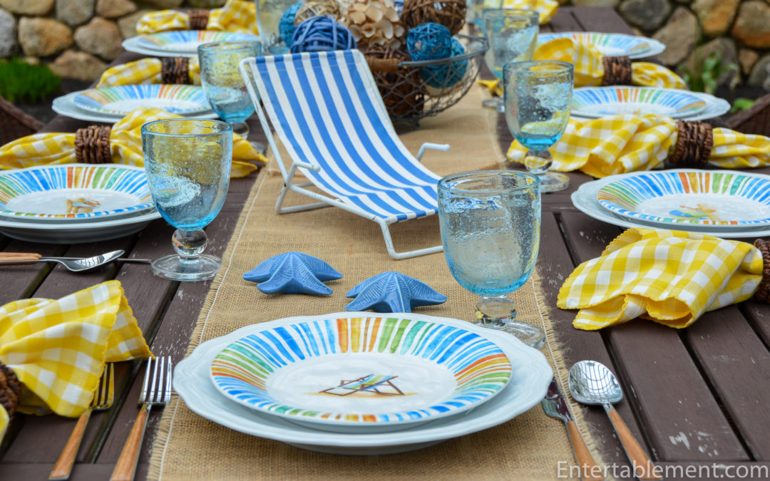 A Bright Seaside Table with Beach Stripes by 222 Fifth