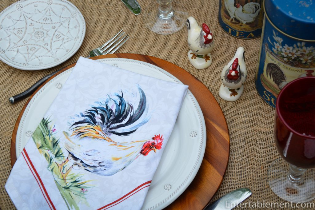 Rooster napkin salt and pepper shakers