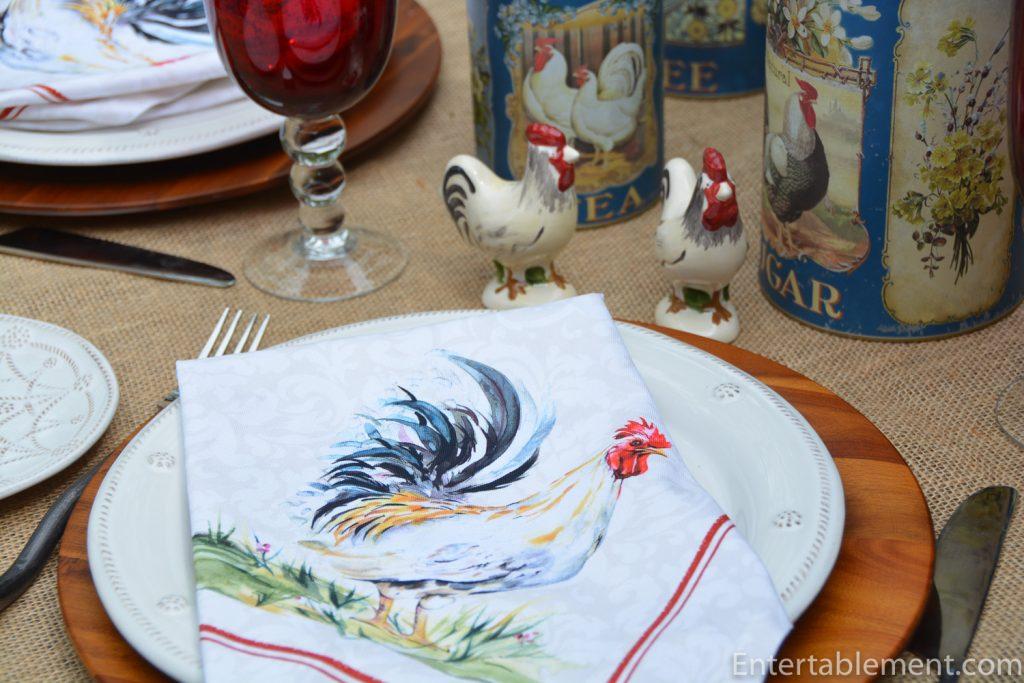 rooster napkin