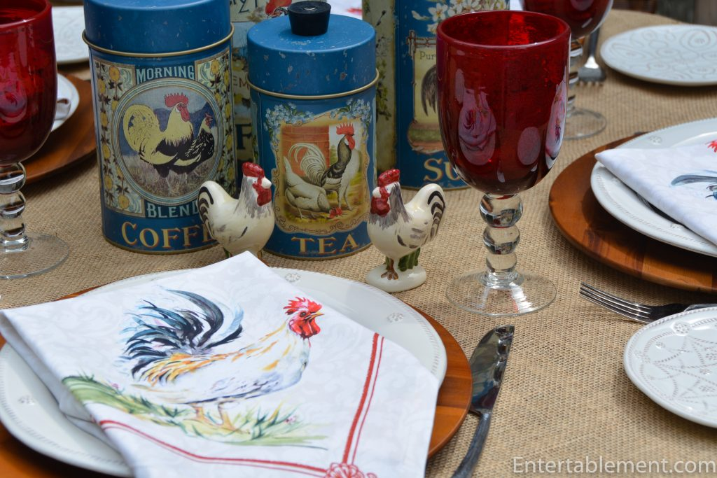 rooster canisters, salt and pepper and napkins