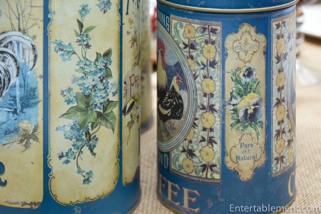 spring flowers on blue canisters