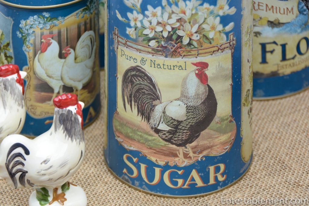 One rooster on French Blue canister