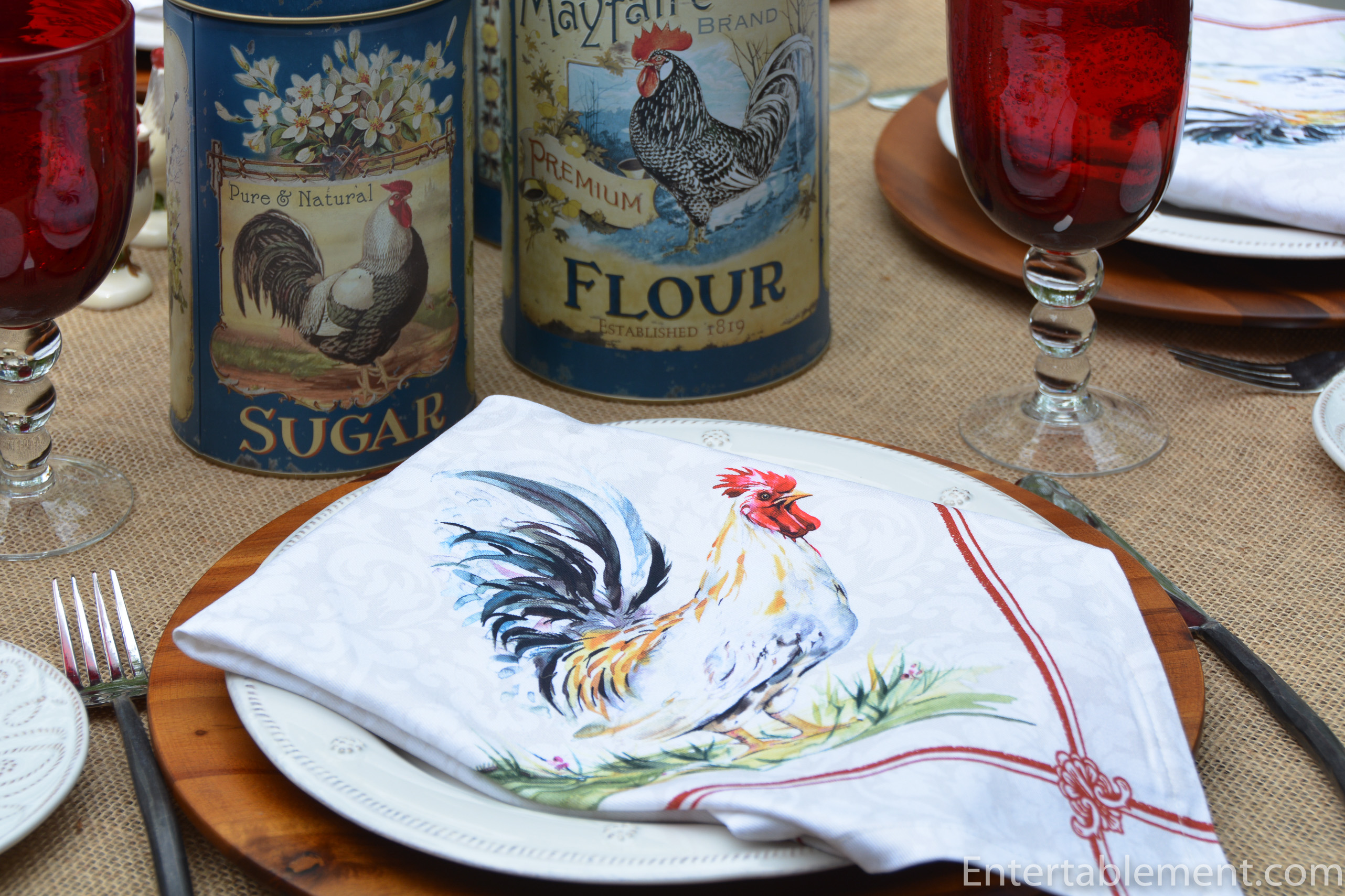 rooster napkin and french blue rooster tin canisters