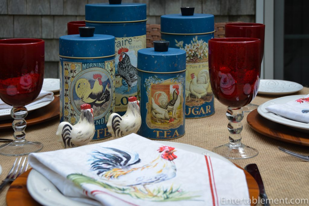 Roosters on French blue food canisters with rooster napkin