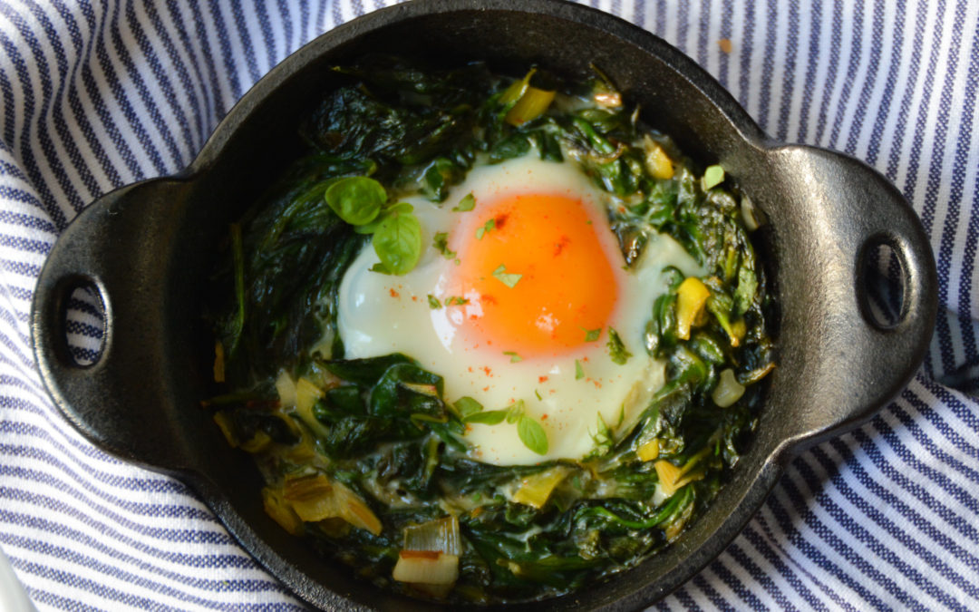 Skillet-Baked Eggs with Spinach