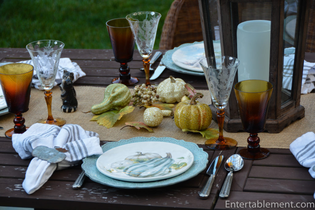 A Friendly Fall Animal Table In Blue And Amber