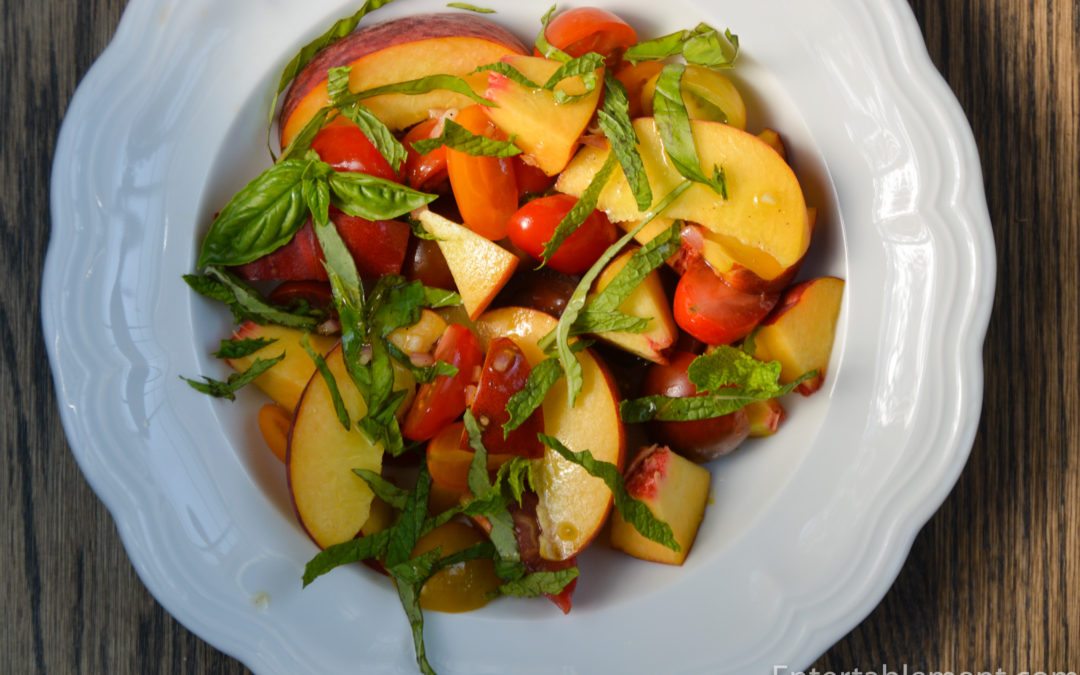Heirloom Tomato and Peach Salad with Mint & Basil
