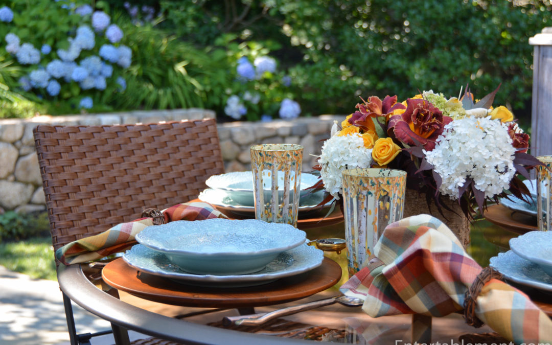 A Vibrant Fall Table with Birch Painted Glasses