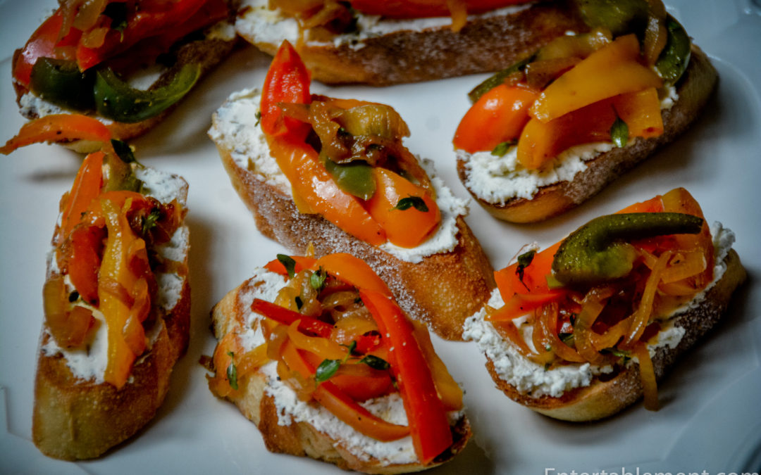 Herbed Goat Cheese Crostini with Caramelized Peppers