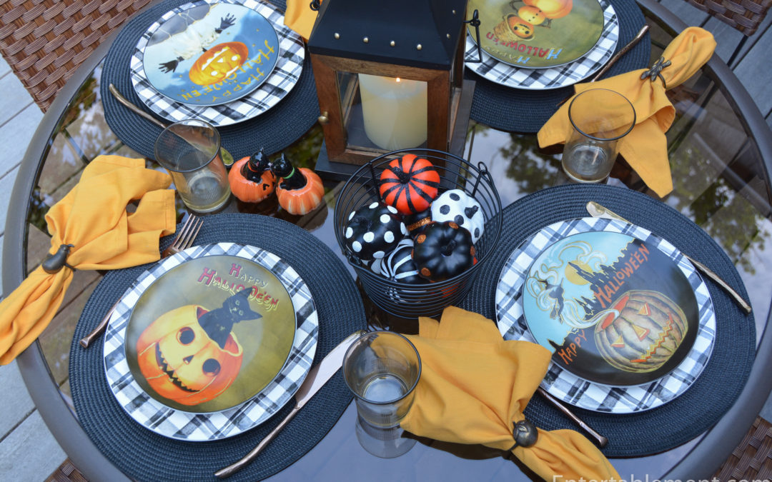 Vintage Halloween with Black Cats and Pumpkins