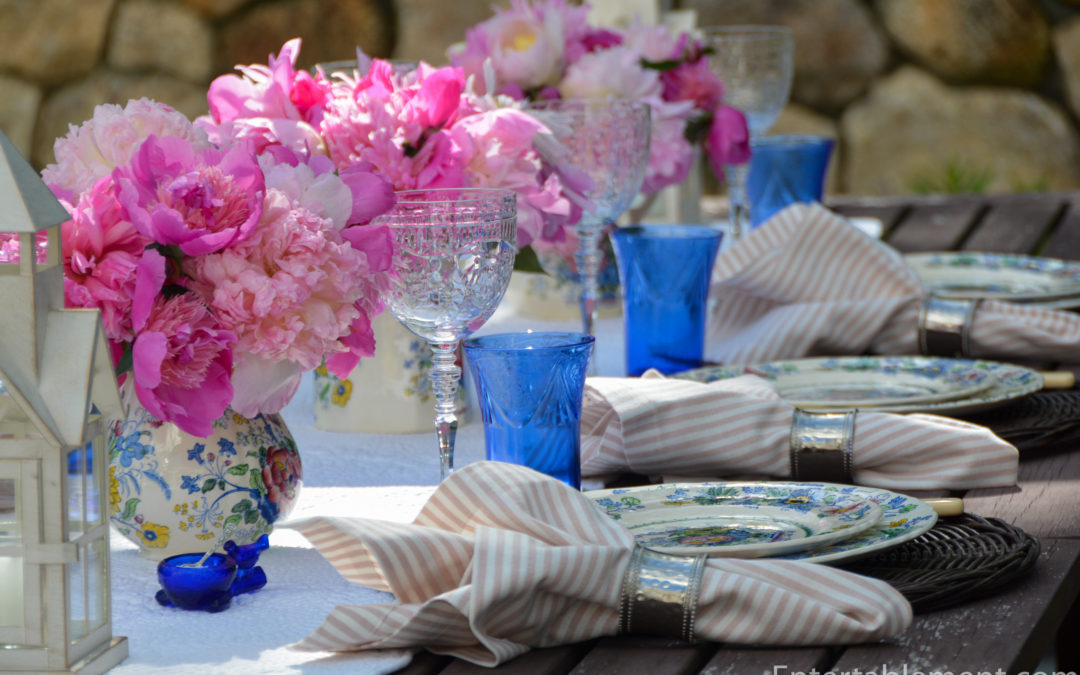 Peonies Dance with Strathmore Blue Ironstone by Mason's