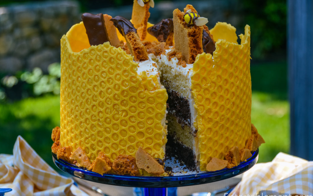 Honeycomb Cake with Sponge Toffee Garnish