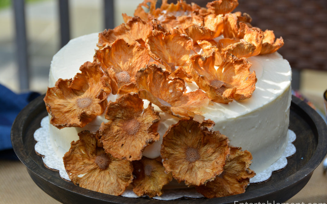 Pumpkin Cake with Pineapple Flowers