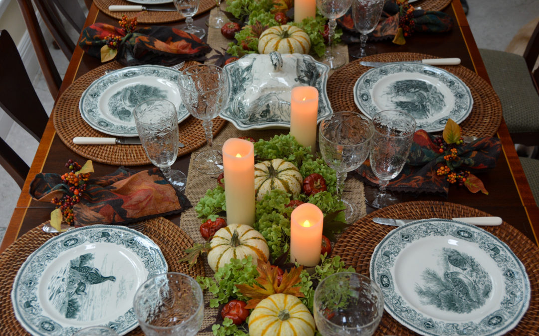 A Vibrant Fall Table with Mason's Game Bird Green