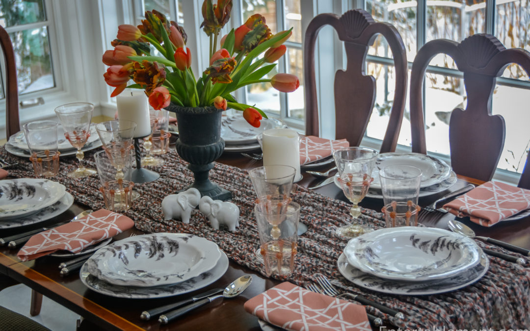 A Coral and Pewter Table with Country Estate by Juliska