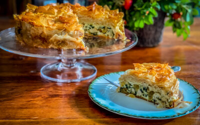 Phyllo Tart with Chicken, Spinach, Feta and Pine Nuts