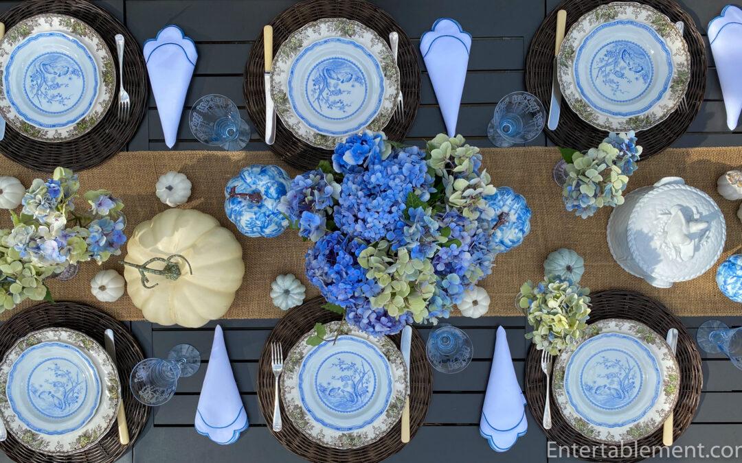 Mason's Quail Blue with Chinoiserie Pumpkins